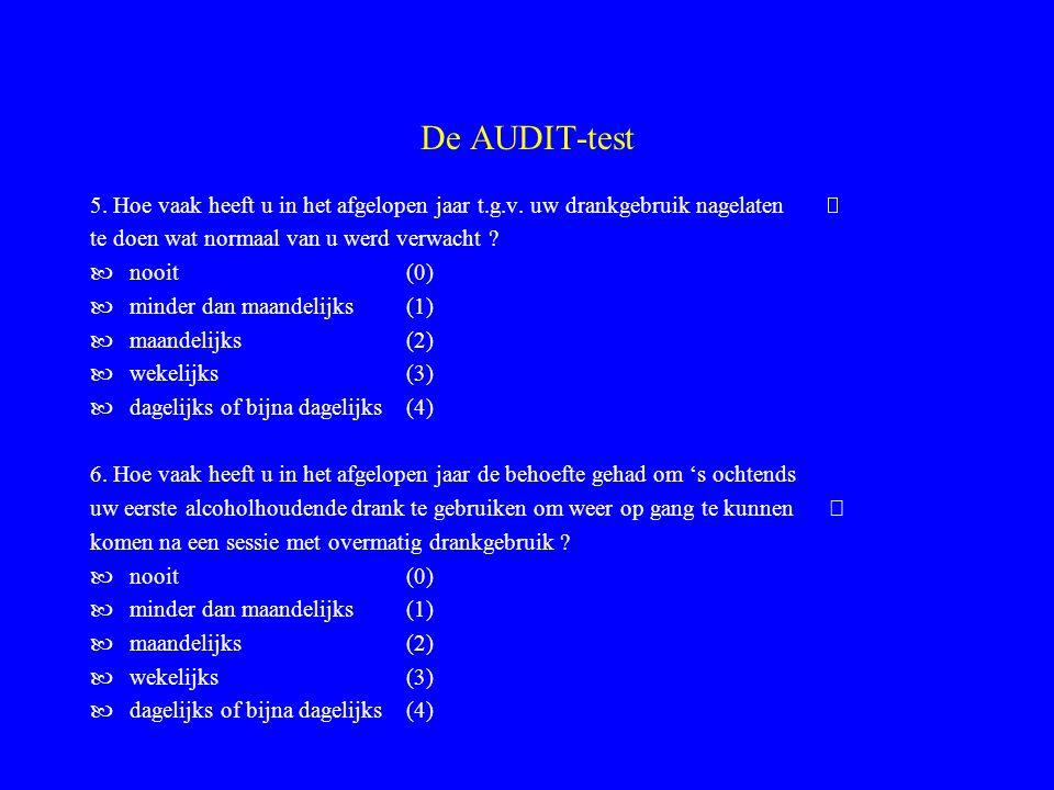 De AUDIT-test 5. Hoe vaak heeft u in het afgelopen jaar t.g.v. uw drankgebruik nagelaten  te doen wat normaal van u werd verwacht
