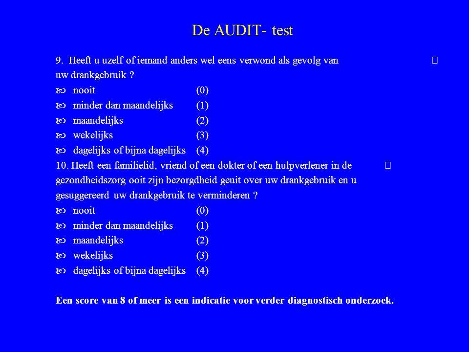 De AUDIT- test 9. Heeft u uzelf of iemand anders wel eens verwond als gevolg van  uw drankgebruik