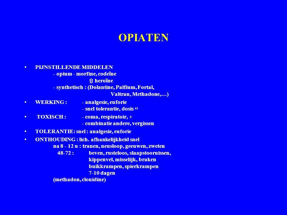 OPIATEN PIJNSTILLENDE MIDDELEN - opium - morfine, codeïne  heroïne - synthetisch : (Dolantine, Palfium, Fortal, Valtran, Methadone,…)
