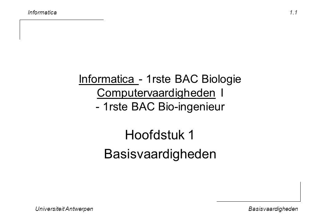 Informatica Hoofdstuk 1 Basisvaardigheden