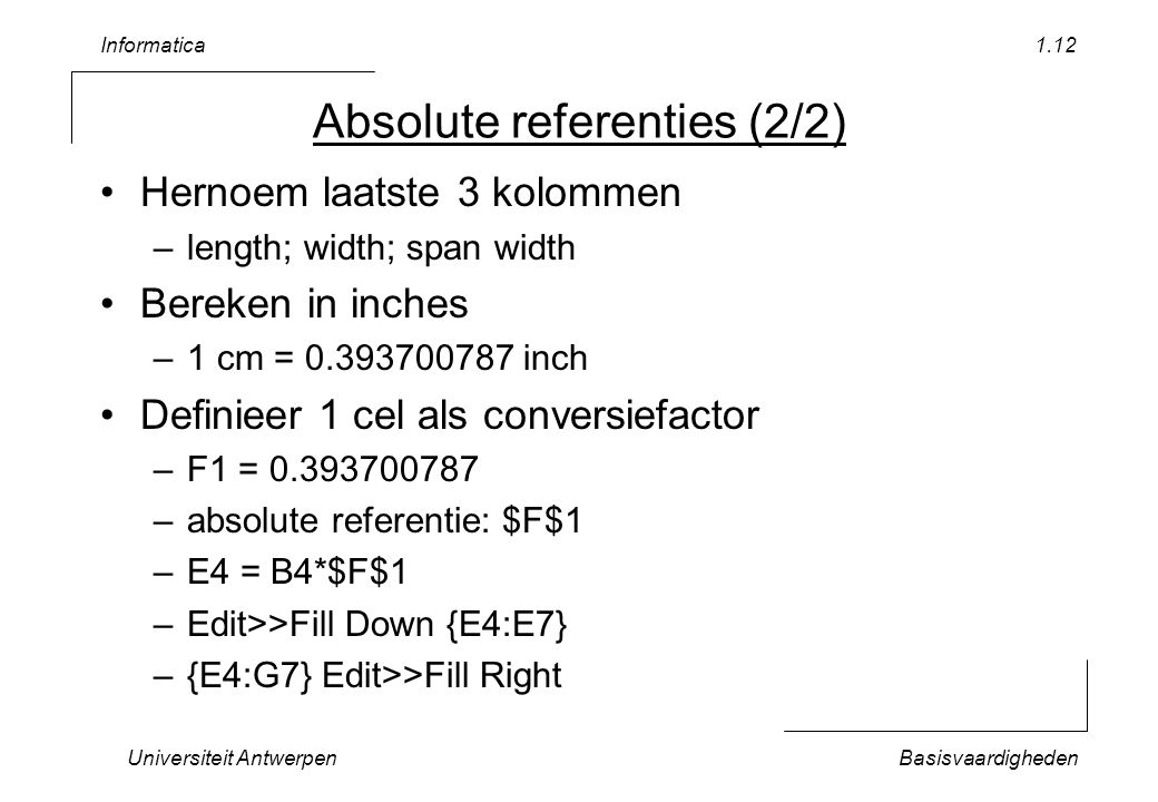Absolute referenties (2/2)