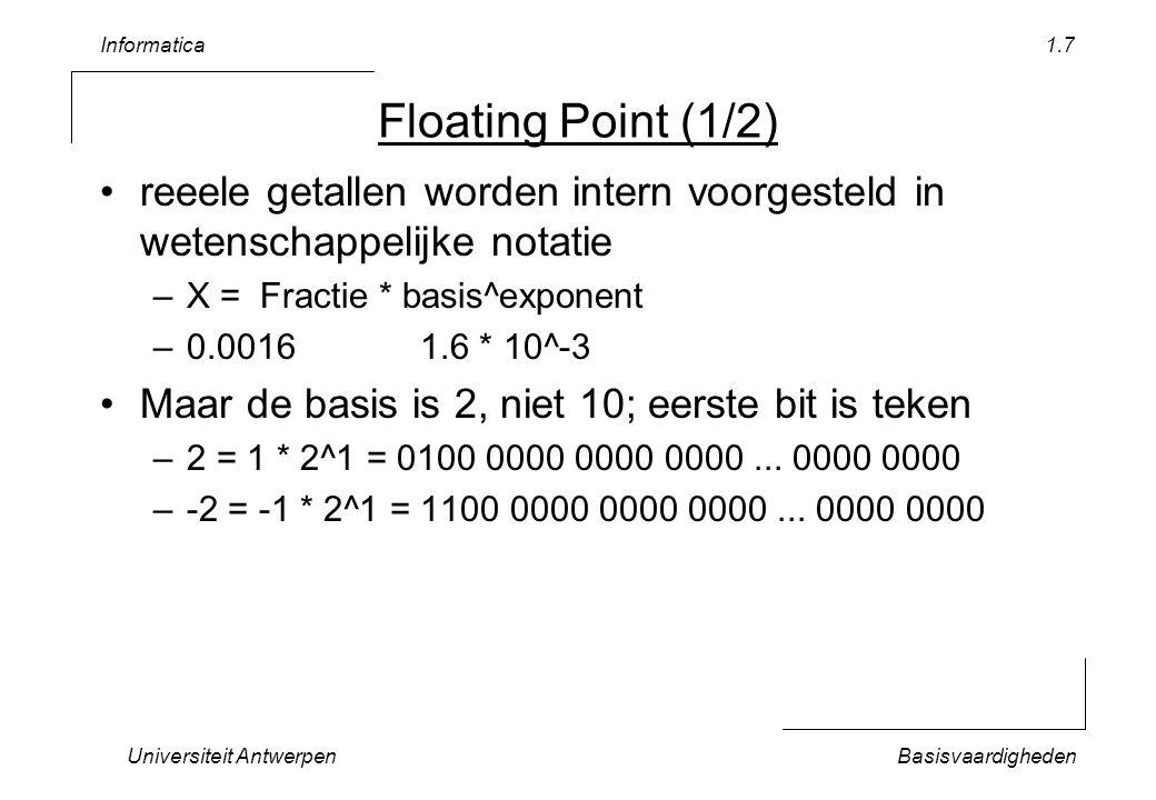 Informatica Universiteit Antwerpen. Floating Point (1/2) reeele getallen worden intern voorgesteld in wetenschappelijke notatie.