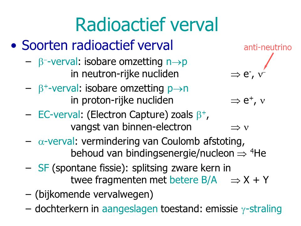 Radioactief verval Soorten radioactief verval