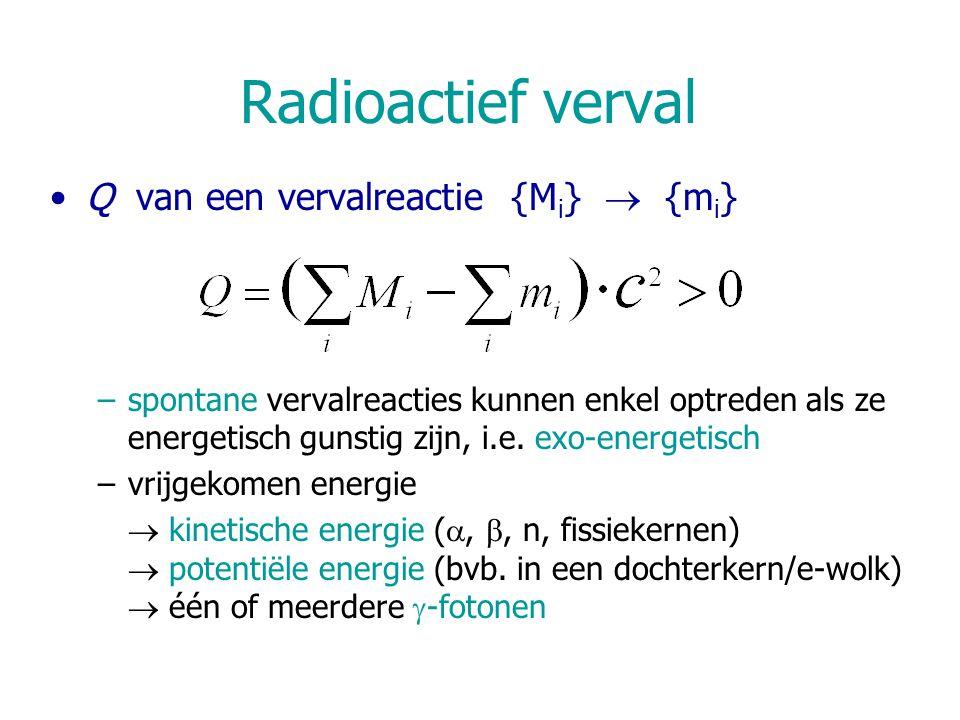 Radioactief verval Q van een vervalreactie {Mi}  {mi}
