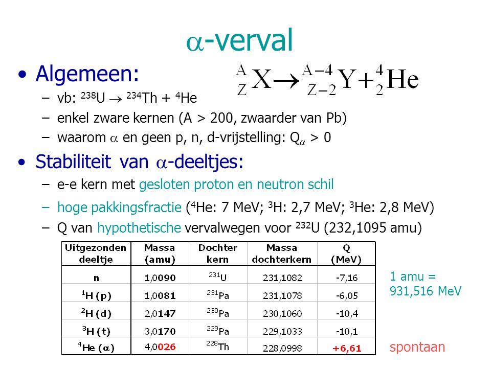 a-verval Algemeen: Stabiliteit van a-deeltjes: vb: 238U  234Th + 4He