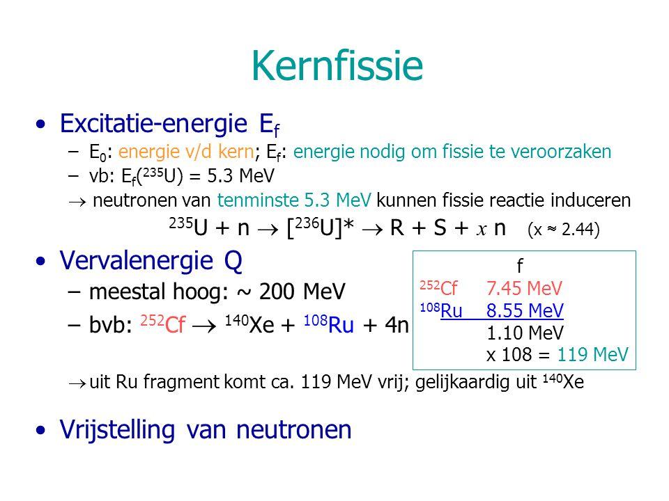 Kernfissie Excitatie-energie Ef Vervalenergie Q