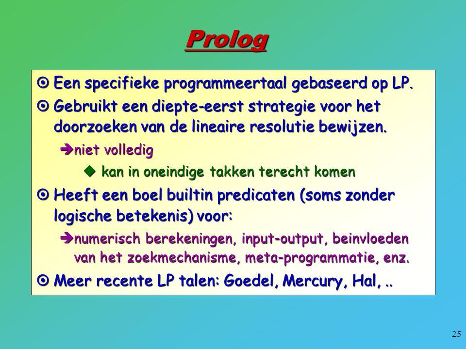 Prolog Een specifieke programmeertaal gebaseerd op LP.