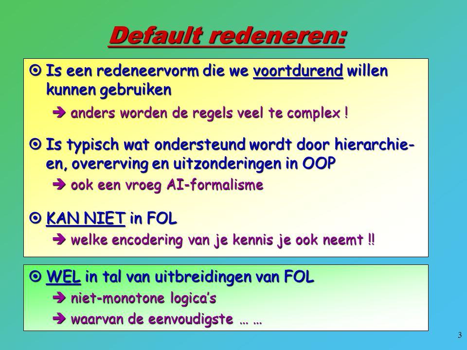 Default redeneren: Is een redeneervorm die we voortdurend willen kunnen gebruiken. anders worden de regels veel te complex !