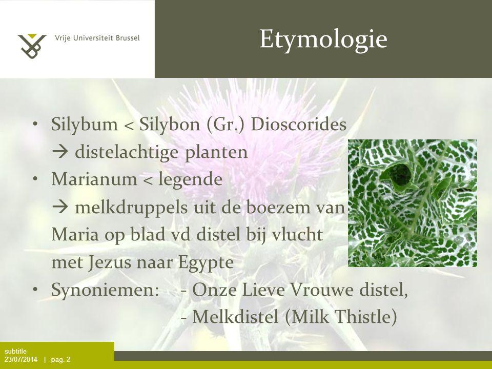 Etymologie Silybum < Silybon (Gr.) Dioscorides