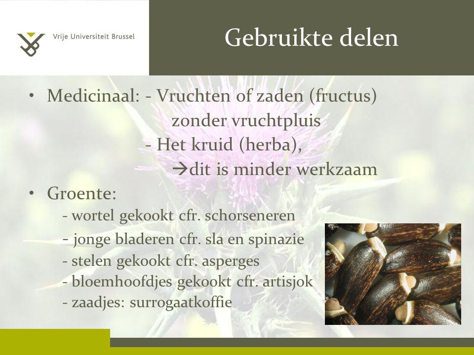 Gebruikte delen Medicinaal: - Vruchten of zaden (fructus)