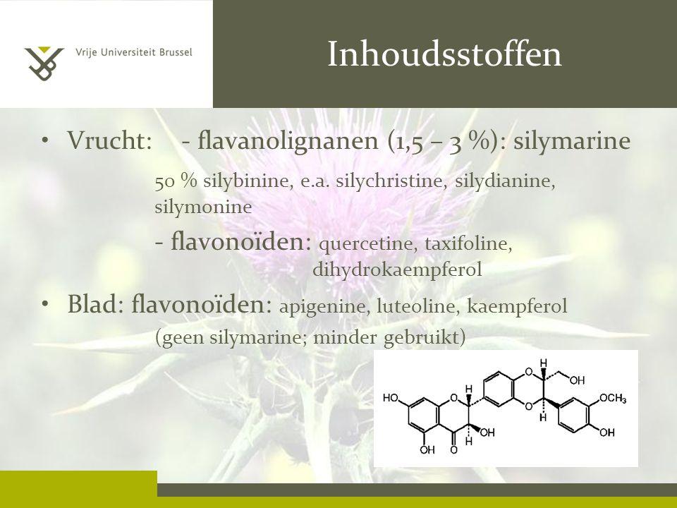 Inhoudsstoffen Vrucht: - flavanolignanen (1,5 – 3 %): silymarine
