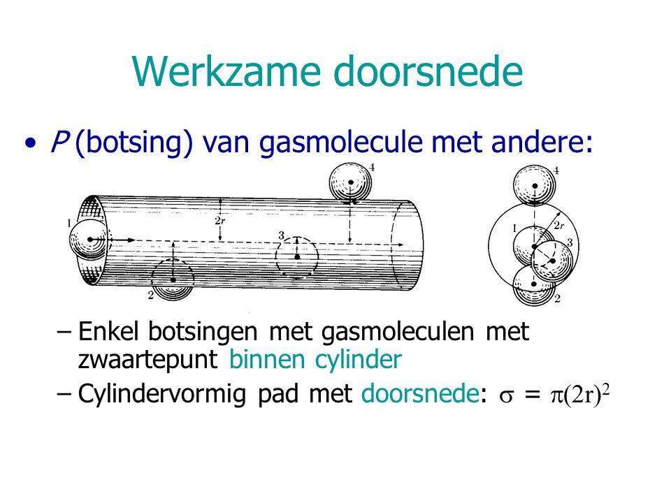 Werkzame doorsnede P (botsing) van gasmolecule met andere: