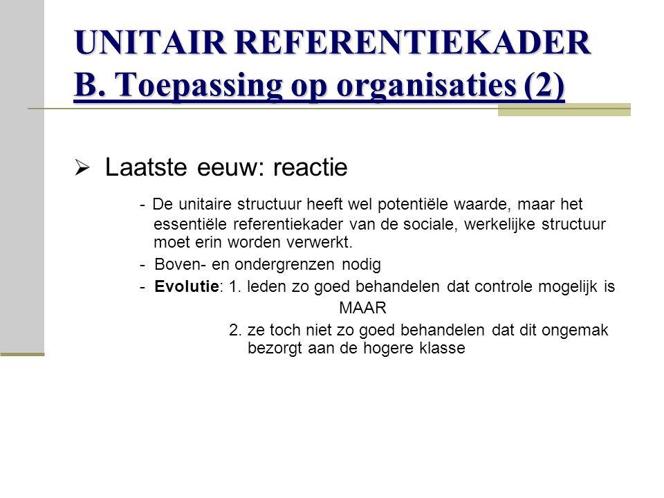 UNITAIR REFERENTIEKADER B. Toepassing op organisaties (2)