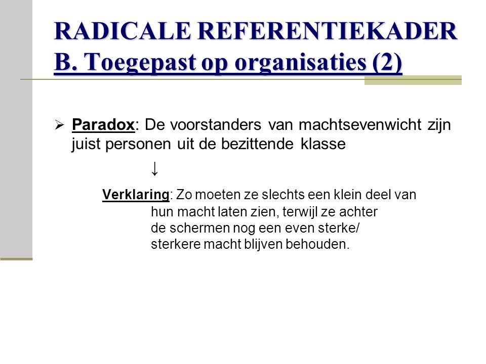 RADICALE REFERENTIEKADER B. Toegepast op organisaties (2)
