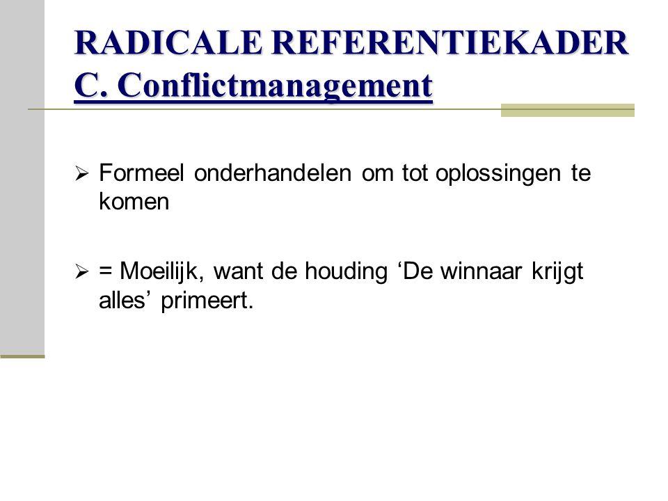 RADICALE REFERENTIEKADER C. Conflictmanagement