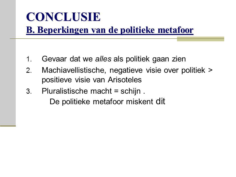 CONCLUSIE B. Beperkingen van de politieke metafoor