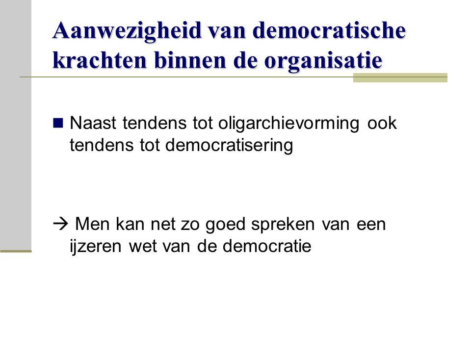 Aanwezigheid van democratische krachten binnen de organisatie