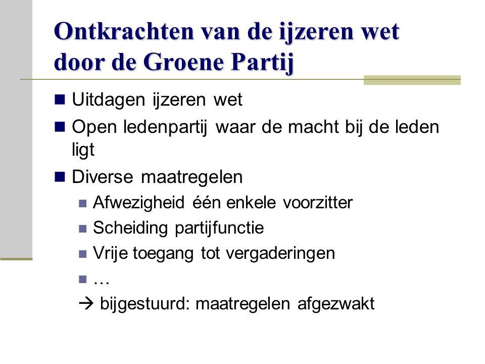 Ontkrachten van de ijzeren wet door de Groene Partij