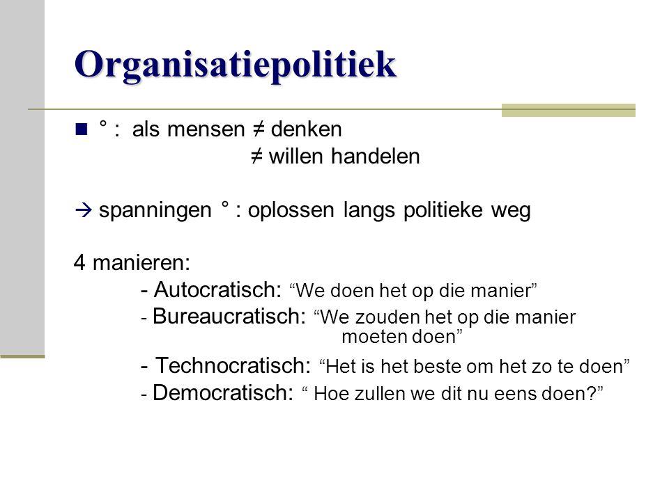 Organisatiepolitiek ° : als mensen ≠ denken ≠ willen handelen