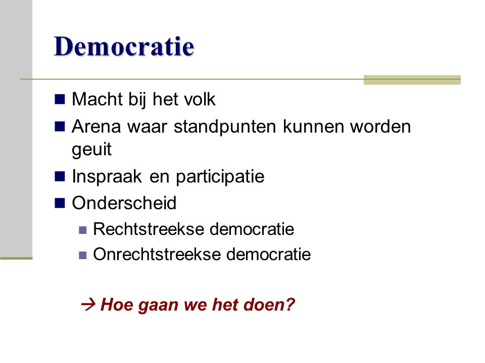 Democratie Macht bij het volk