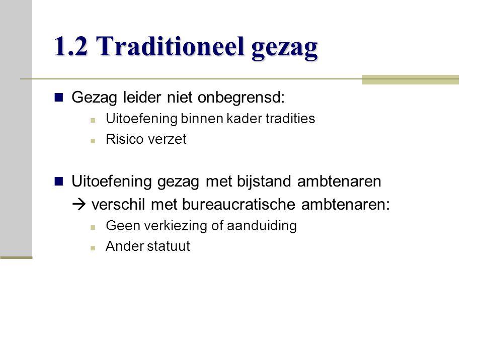 1.2 Traditioneel gezag Gezag leider niet onbegrensd: