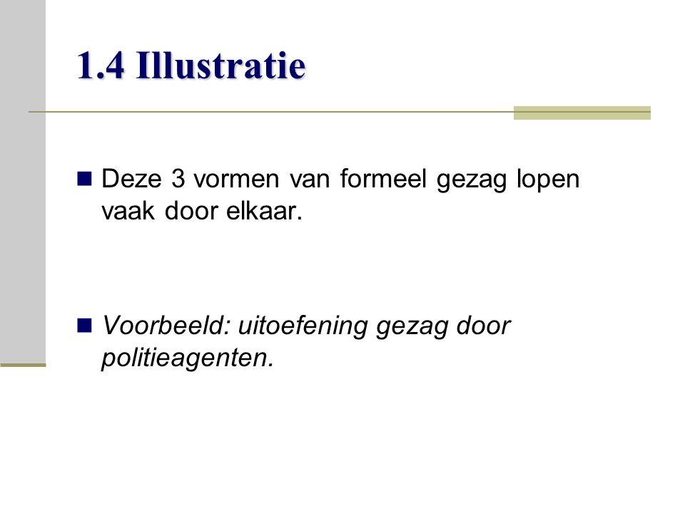 1.4 Illustratie Deze 3 vormen van formeel gezag lopen vaak door elkaar.