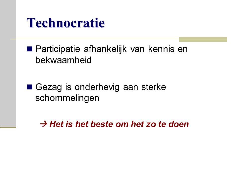Technocratie Participatie afhankelijk van kennis en bekwaamheid