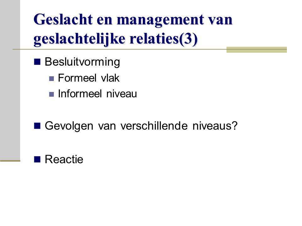 Geslacht en management van geslachtelijke relaties(3)
