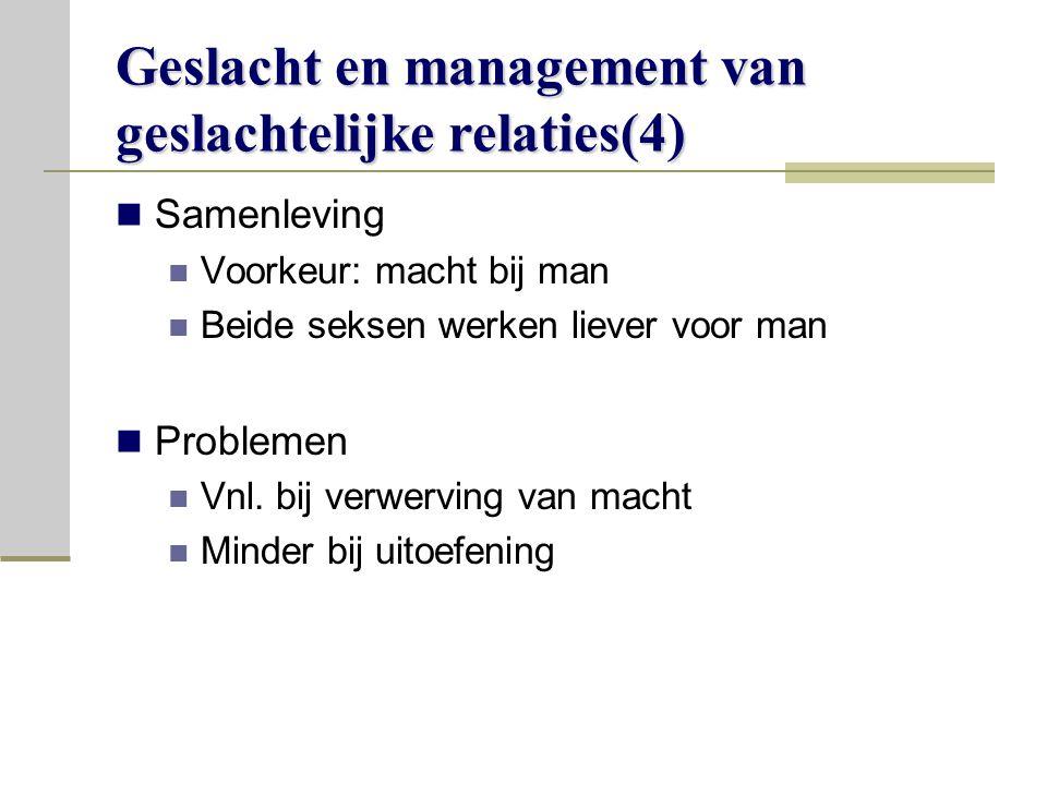 Geslacht en management van geslachtelijke relaties(4)