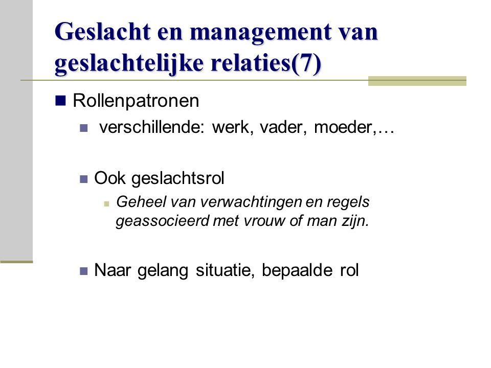 Geslacht en management van geslachtelijke relaties(7)