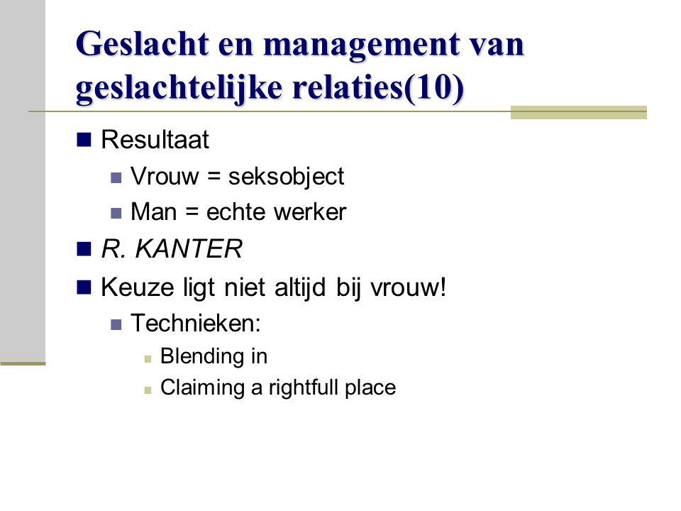 Geslacht en management van geslachtelijke relaties(10)