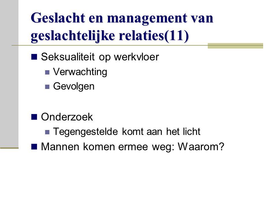 Geslacht en management van geslachtelijke relaties(11)