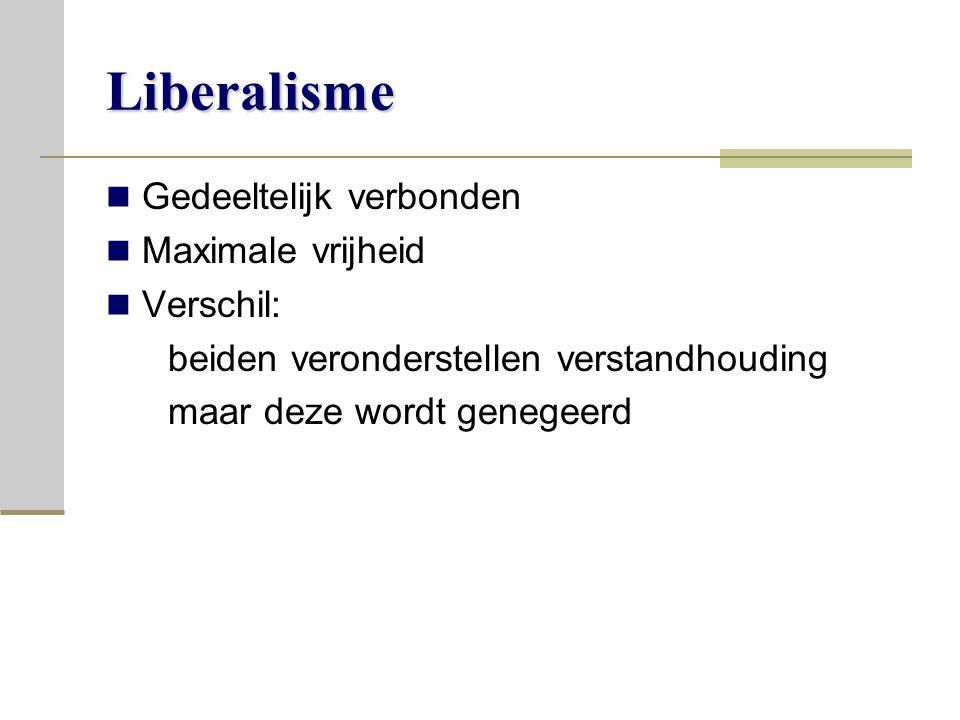 Liberalisme Gedeeltelijk verbonden Maximale vrijheid Verschil: