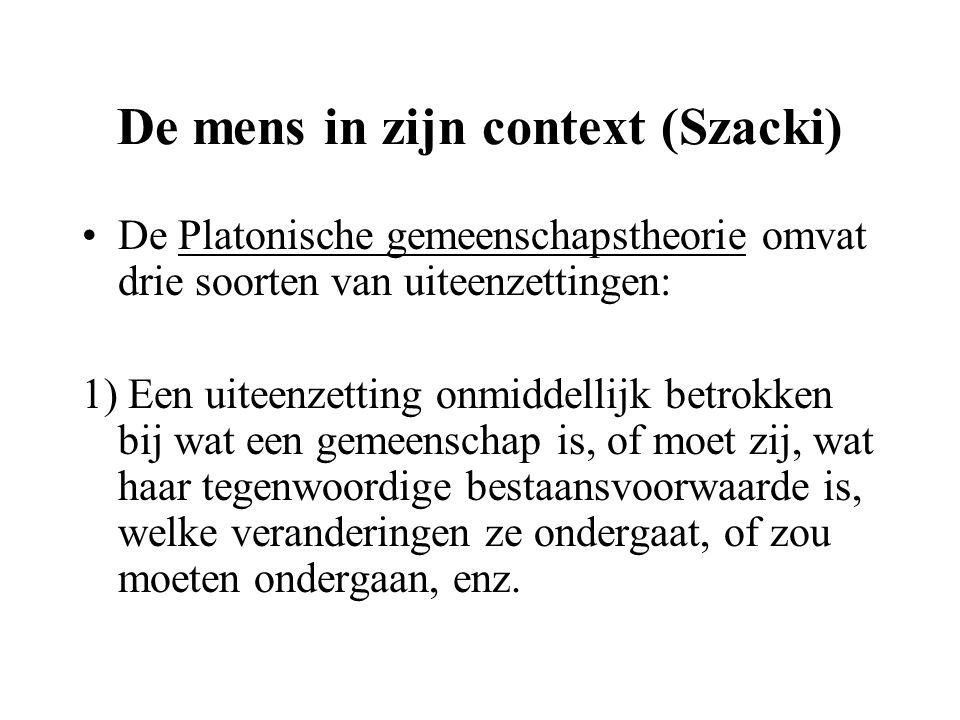 De mens in zijn context (Szacki)