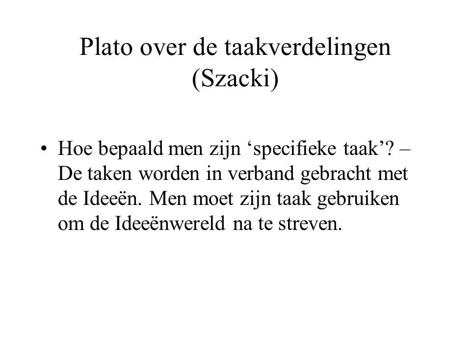 Plato over de taakverdelingen (Szacki)