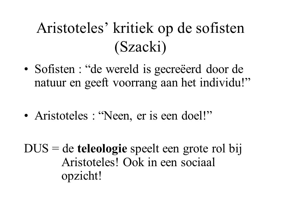 Aristoteles' kritiek op de sofisten (Szacki)