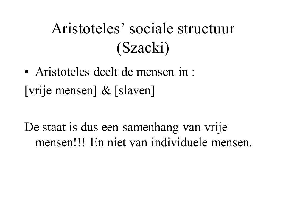 Aristoteles' sociale structuur (Szacki)