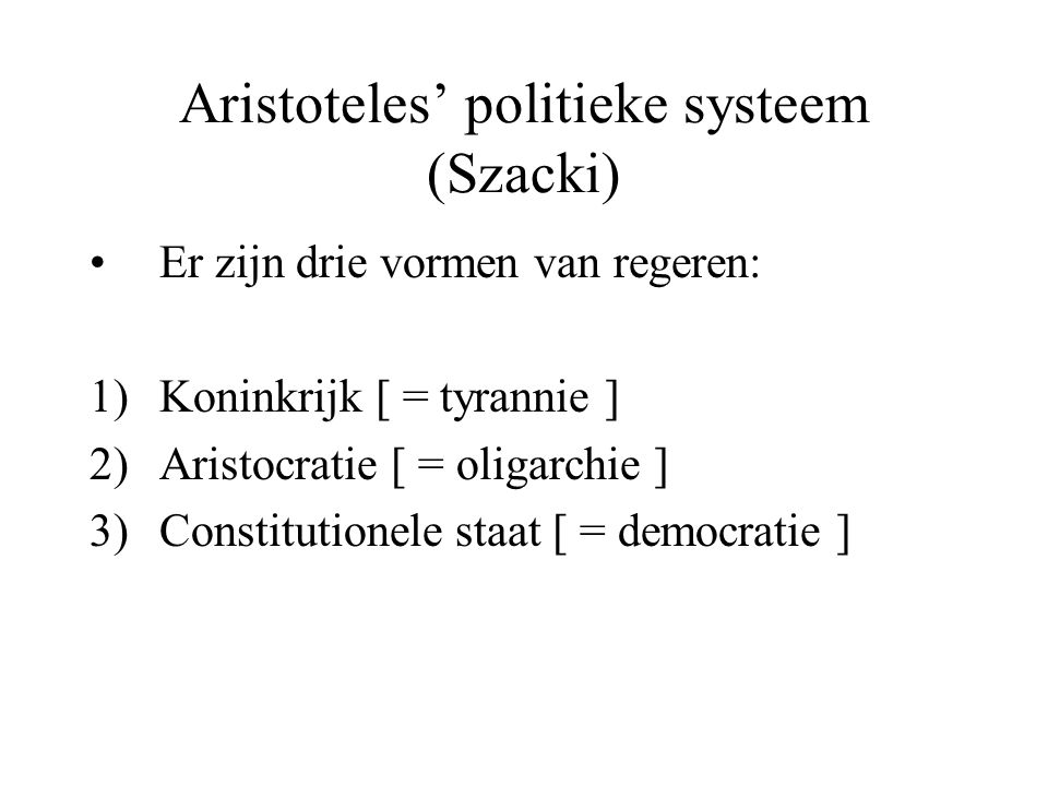 Aristoteles' politieke systeem (Szacki)