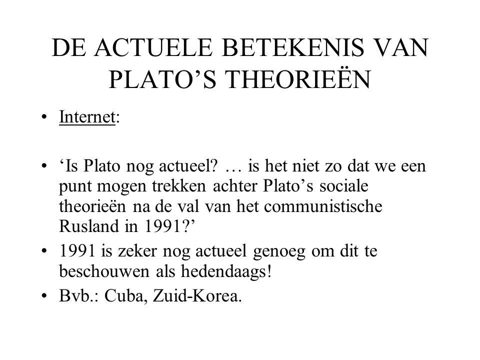 DE ACTUELE BETEKENIS VAN PLATO'S THEORIEËN