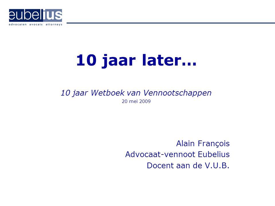 10 jaar Wetboek van Vennootschappen