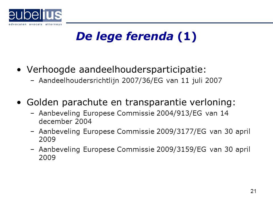 De lege ferenda (1) Verhoogde aandeelhoudersparticipatie: