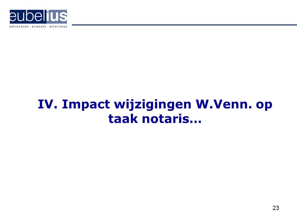 IV. Impact wijzigingen W.Venn. op taak notaris…