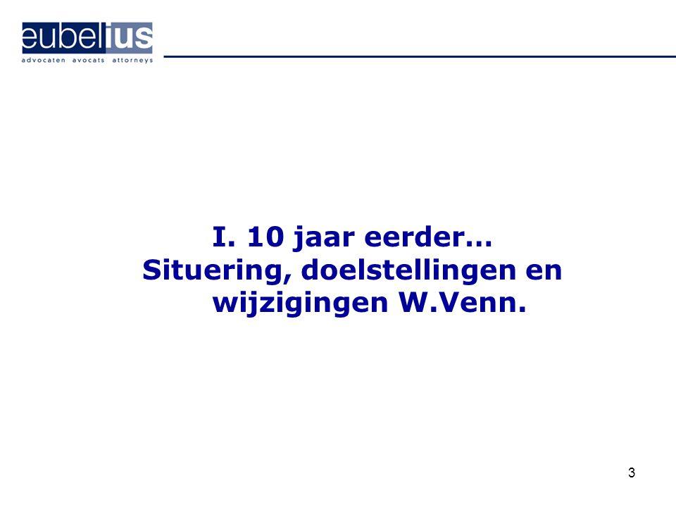 Situering, doelstellingen en wijzigingen W.Venn.