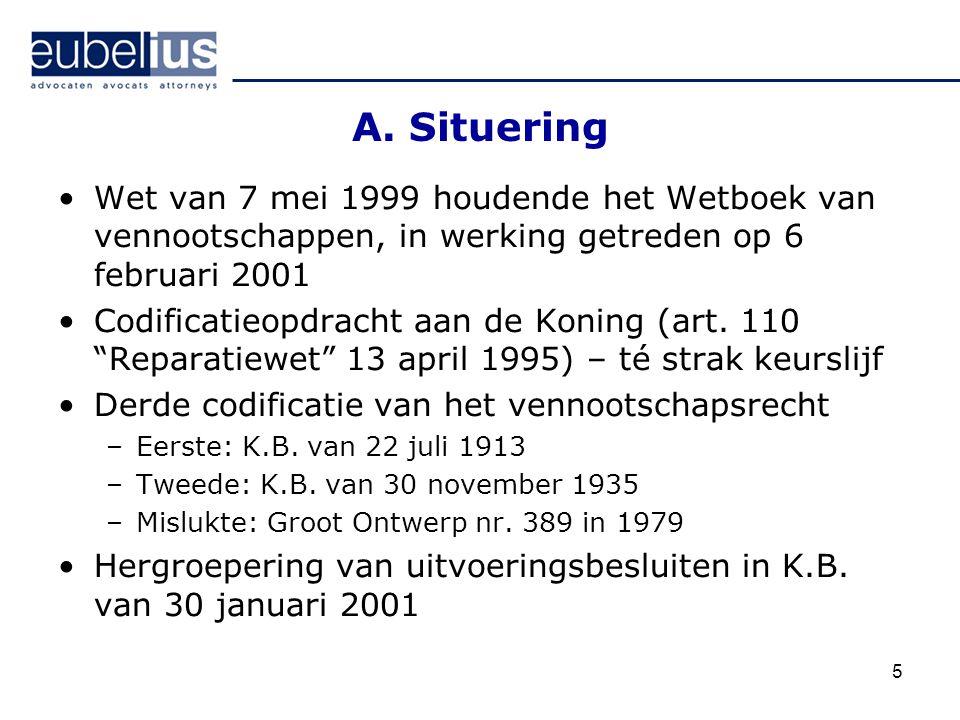 A. Situering Wet van 7 mei 1999 houdende het Wetboek van vennootschappen, in werking getreden op 6 februari 2001.