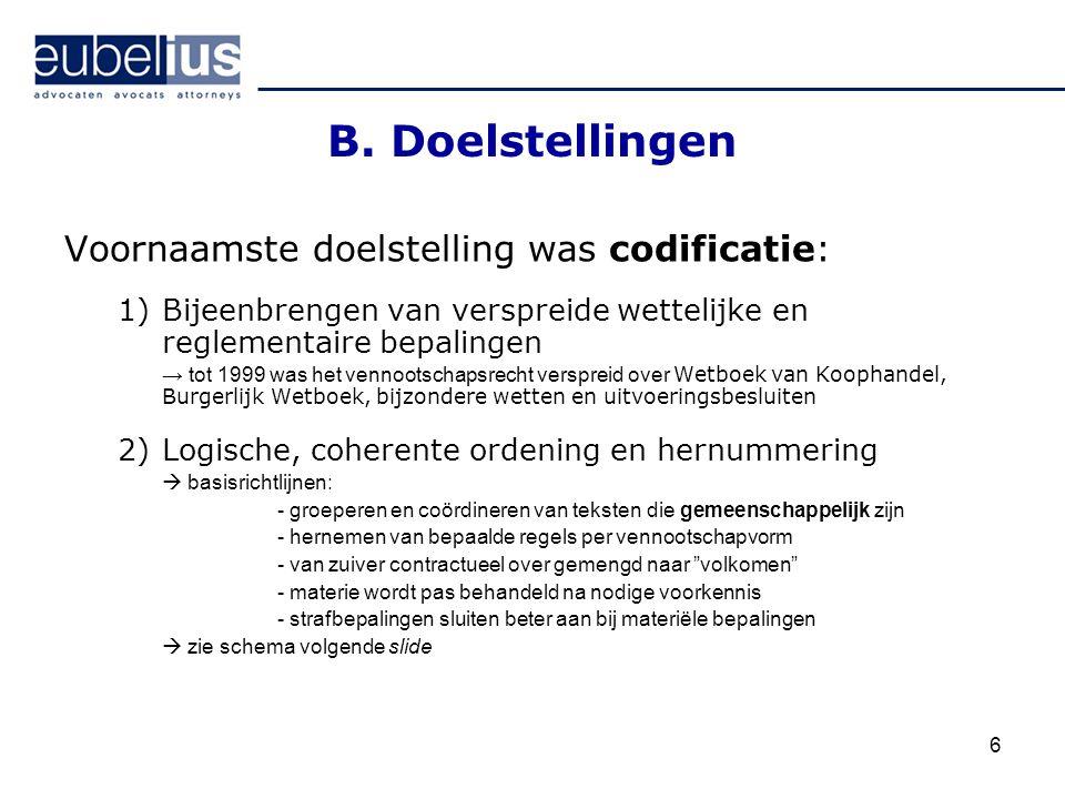 B. Doelstellingen Voornaamste doelstelling was codificatie: