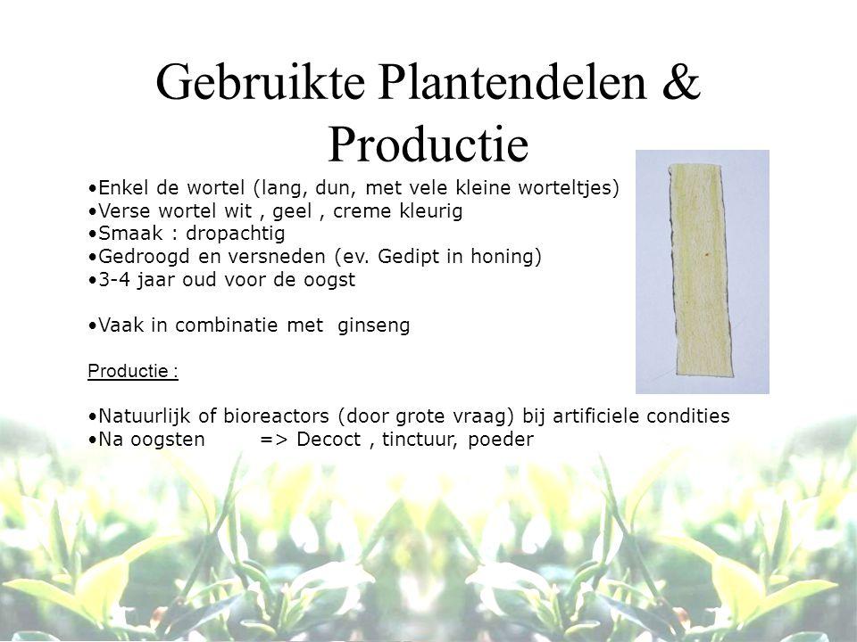 Gebruikte Plantendelen & Productie