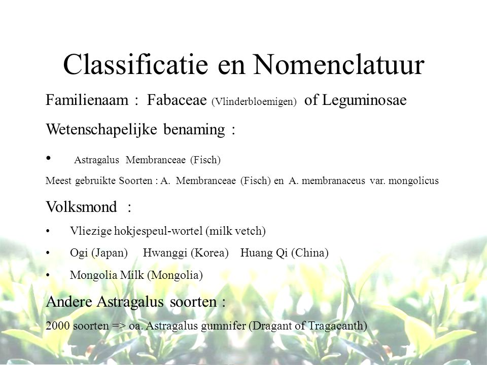 Classificatie en Nomenclatuur