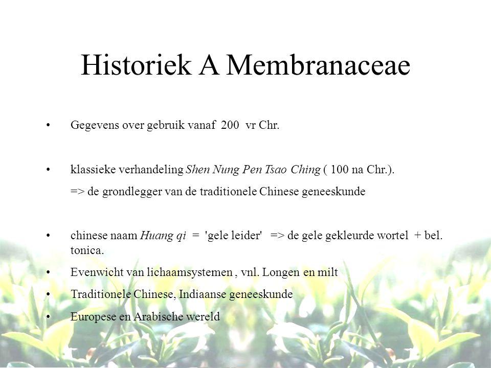Historiek A Membranaceae