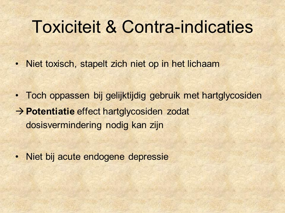 Toxiciteit & Contra-indicaties