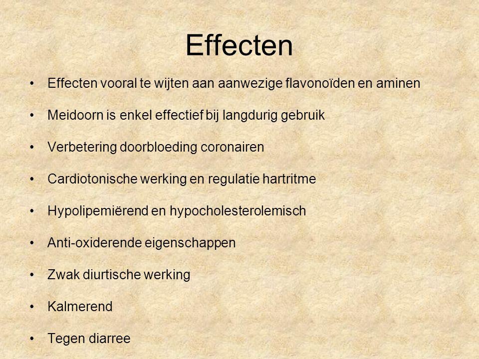 Effecten Effecten vooral te wijten aan aanwezige flavonoïden en aminen